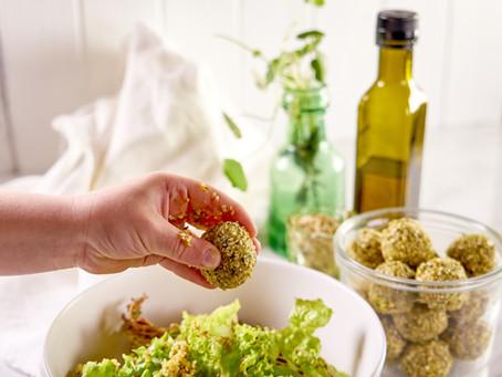 Simple Green Salad with Moroccan Hemp Bombs