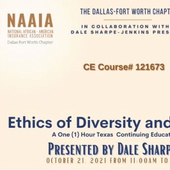 10/18/21 - Ethics of D&I VIRTUAL class - taught by Dale Sharpe-Jenkins -  SOAR Qualifying Event