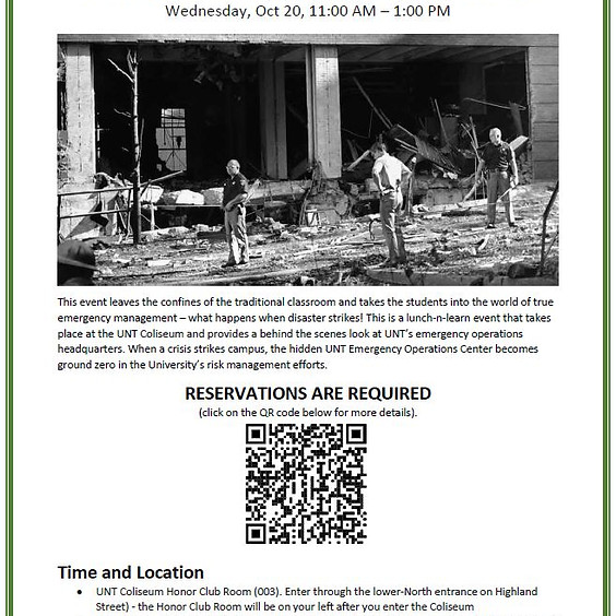 10/20/21 UNT Emergency Operations Behind-the-Scene Tour  RSVP Required to attend this event!