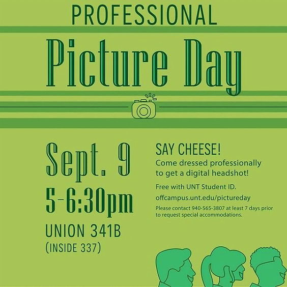 9/09/21 - Thursday - Professional Headshot Picture Day at the UNT Union - SOAR Qualifying Event