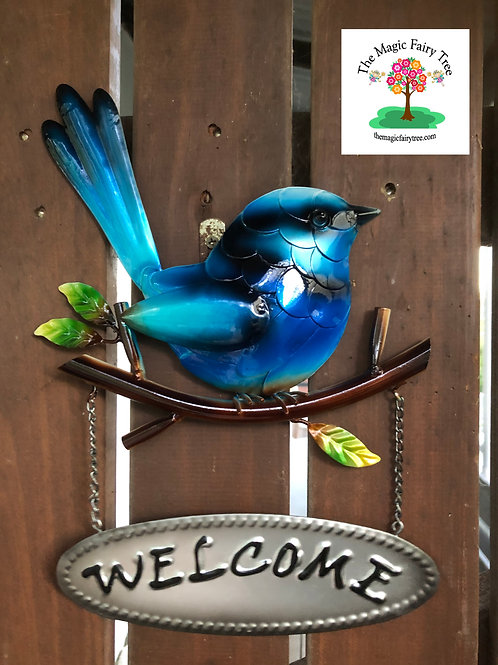 Welcome Blue Fairy Wren Plaque