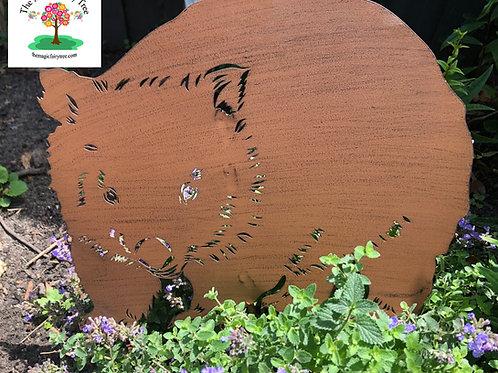 Metal Wombat Garden Stake