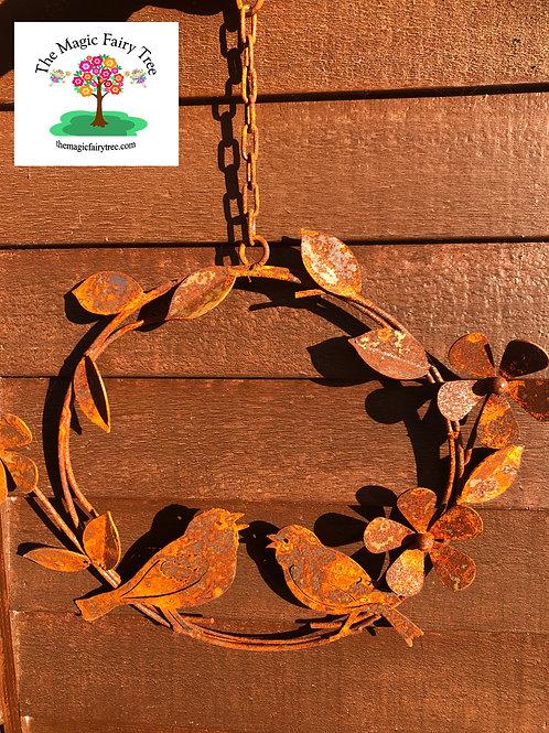 Rusty Metal Bird and Flower Wreath
