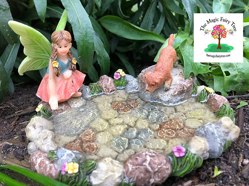 Solid Pond with Fairy and Puppy