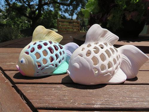 Ceramic bisque ready to paint fish tealight votive