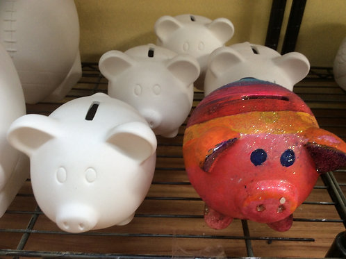Ready to paint piggy bank pottery