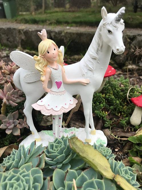 Fairy with Unicorn - 18cm
