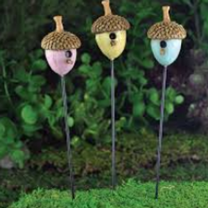 Fiddlehead fairy garden acorn bird house