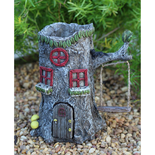 Home Sweet Stump - fairy house planter with opening door and swing