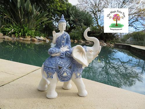 24cm Blue Willow Buddha with Elephant