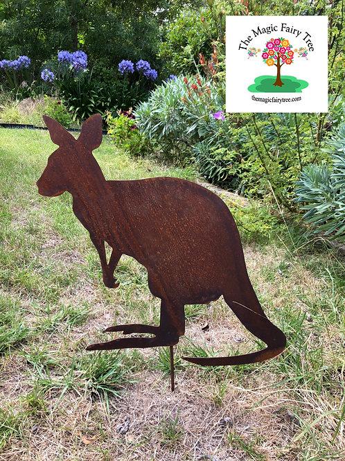 Metal Kangaroo Garden Stake