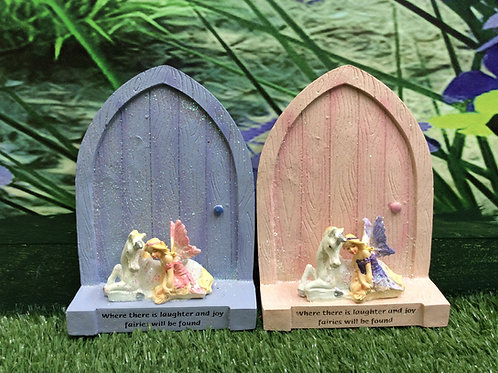 Fairy Door with Unicorn and Fairy Figurine
