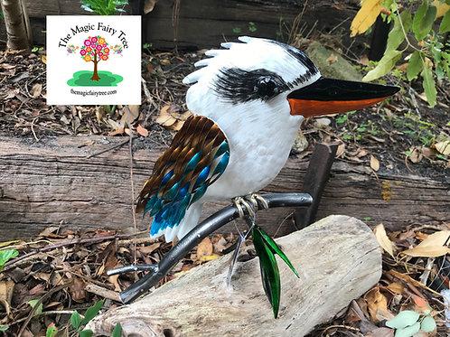 Kookaburra on a branch metal sculpture