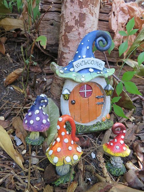 Welcome blue mushroom fairy door