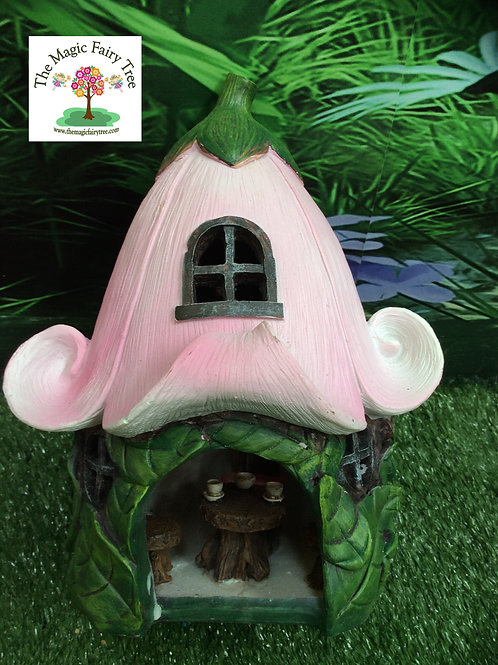 Solar Pink Fairy Flower House with furniture