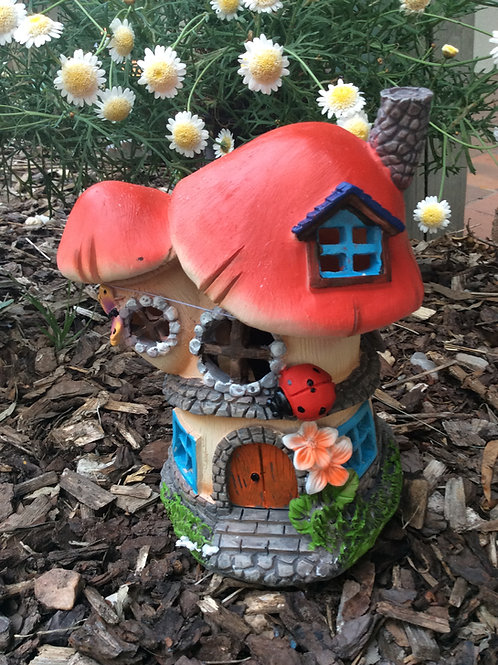 Solar twin red mushroom fairy house