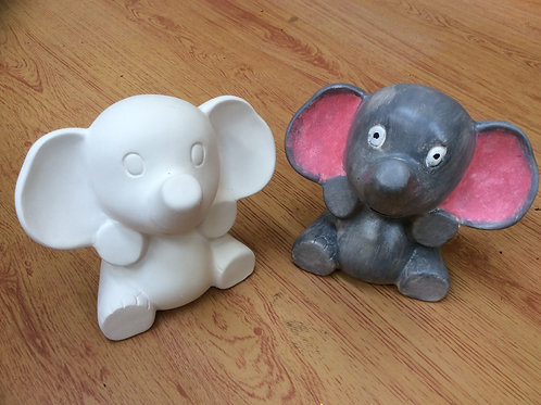 Ceramic ready to paint elephant money box bank