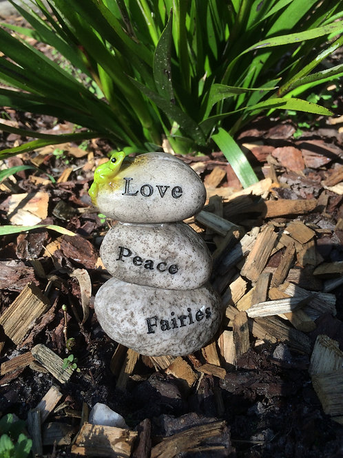 Mini rock cairn - Peace, Love, Fairies rocks / stones