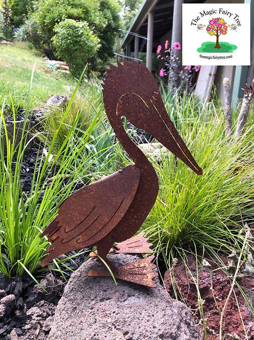 Metal Pelican Garden Statue