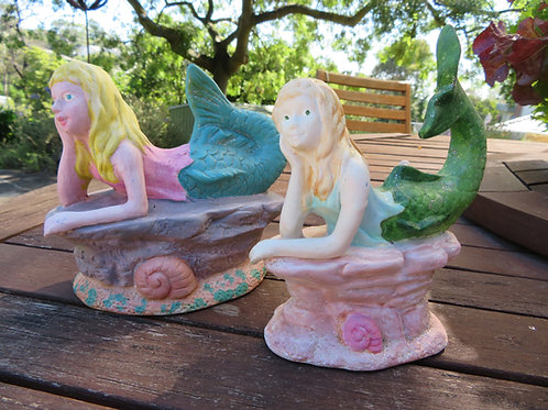 Ready to paint mermaid money bank and mermaid on rock figurine