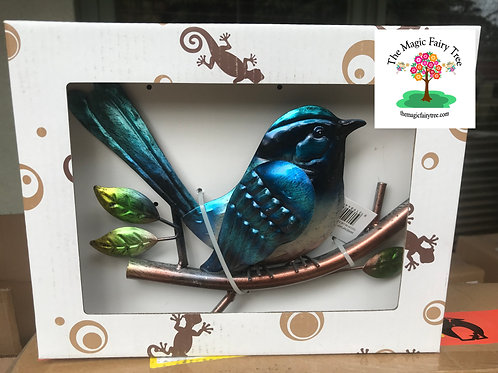 22cm Superb Blue Fairy Wren Metal Wall Art Plaque