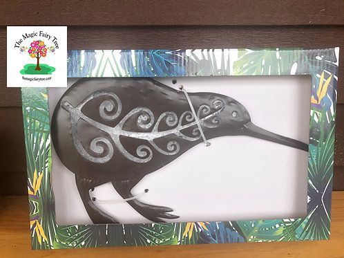 Kiwi metal and glass wall art plaque