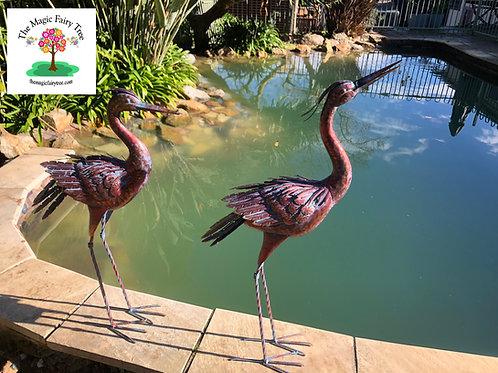 Bronze Heron Egret Metal Garden Sculpture