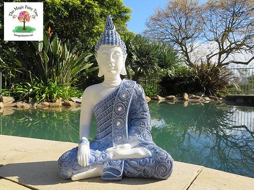 40cm Blue Willow Pattern Buddha