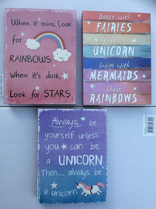 Unicorn Inspirational Plaques