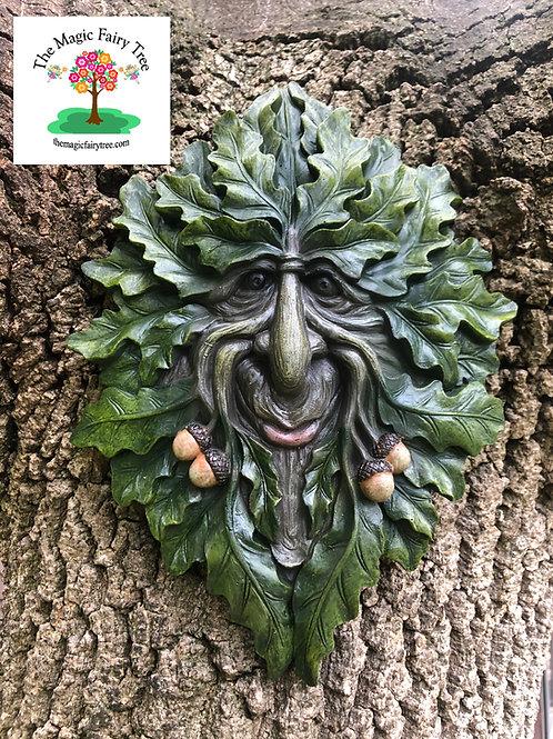 Oak Leaf Treant Green Man Tree Face Plaque