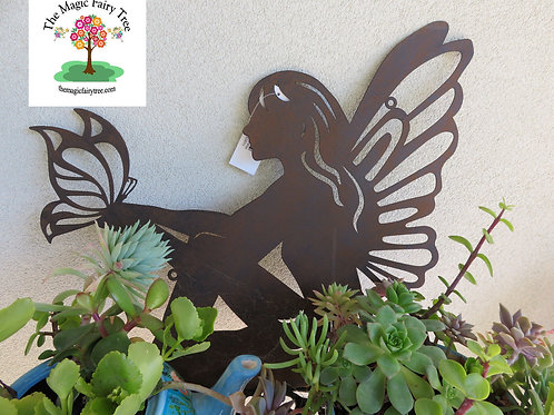 44cm rustic fairy metal silhouette wall art