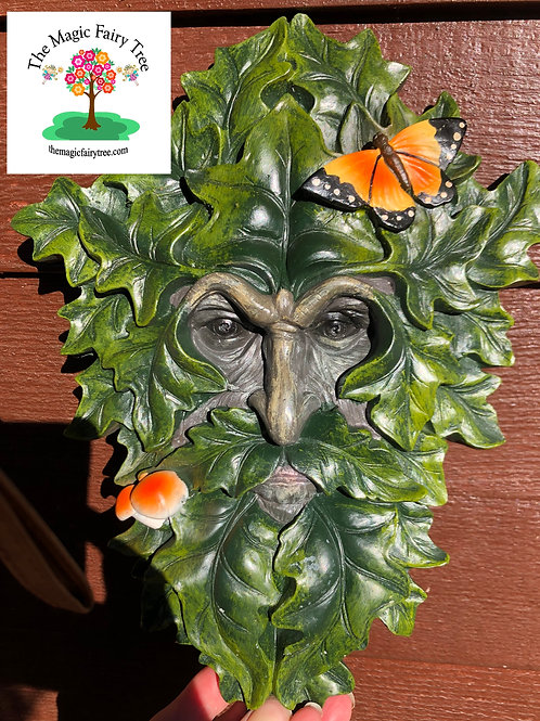 Butterfly Treant Green Man Tree Face Plaque
