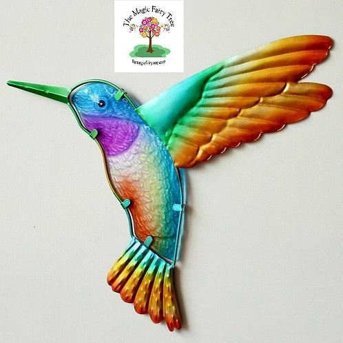 Metal and Glass Hummingbird Wall Art