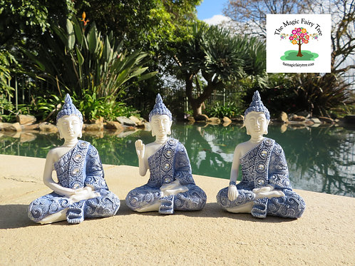 12cm Blue Willow Buddha Statue