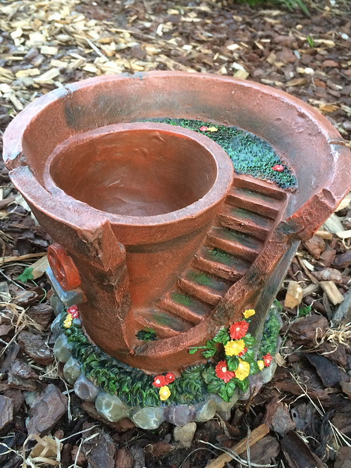 Solar pot plant planter fairy house