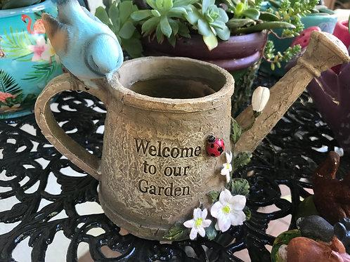 16cm bird on watering can planter pot