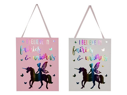 I believe in faires and unicorns wall plaque