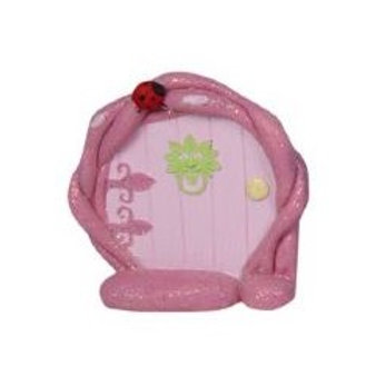 Pink fairy door - round - 10cm