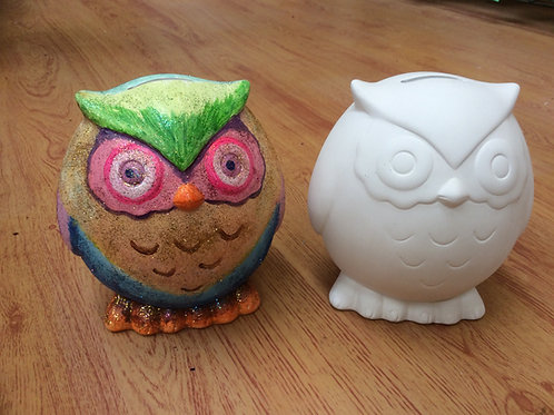 Ready to paint large ceramic owl money box pottery bank