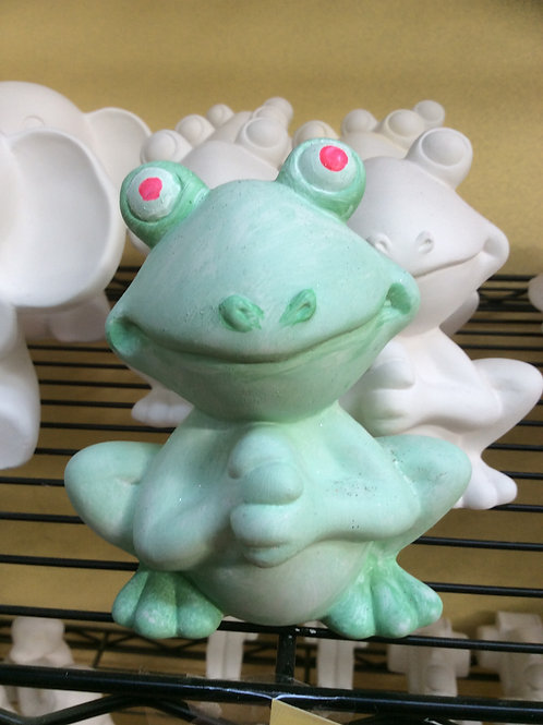 Ready to paint ceramic frog figurine pottery