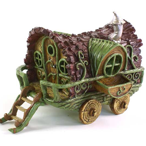 Fiddlehead Gypsy Wagon Caravan Fairy House with opening door