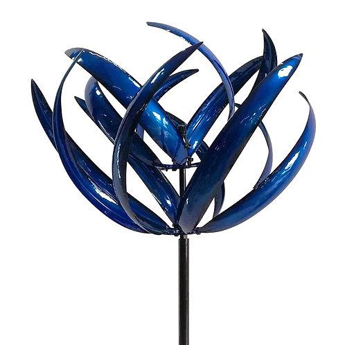 Blue Metal Lotus Design Windmill
