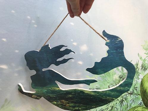 Mermaid shaped wall plaque