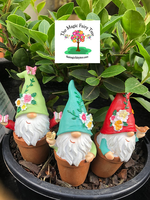 Set of 3 gnomes in flower pots