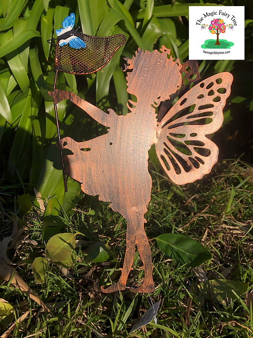 Butterfly Catcher Metal Fairy Stake