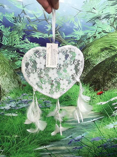 17cm white heart lace dreamcatcher