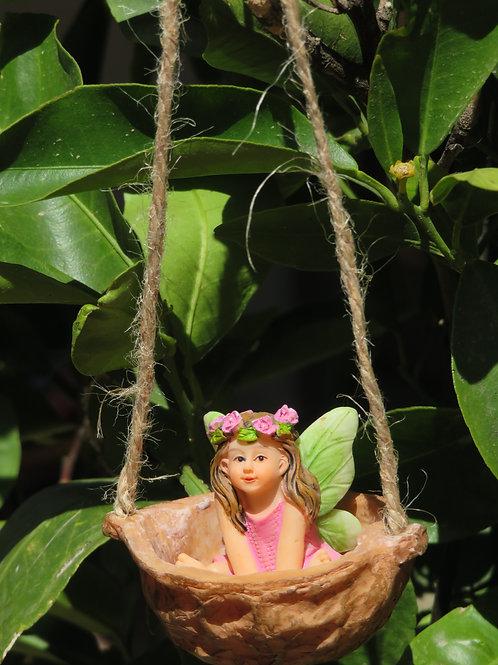 Fairy Sweet Pea in Walnut Shell Swing