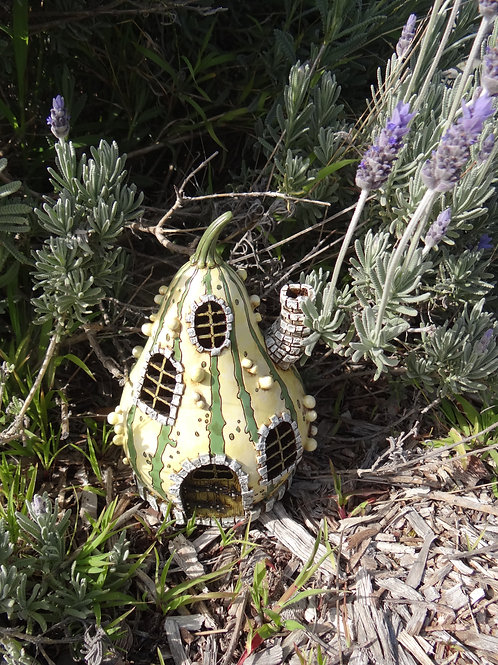 Fiddlehead Striped Gourd Fairy House with opening door
