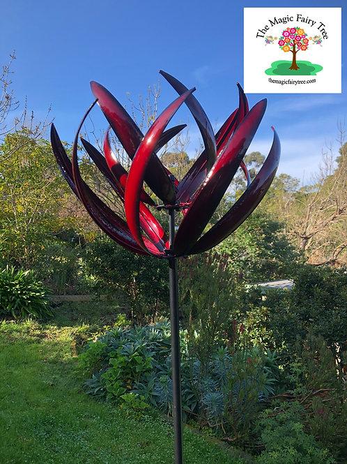 Red Metal Lotus Design Windmill