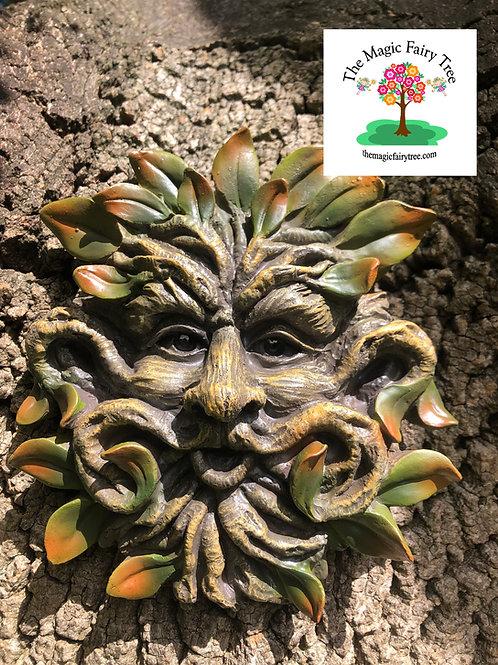 17cm Treant Green Man Tree Face Plaque